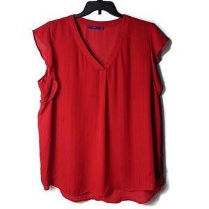 Apt 9. Red Cap Sleeve Flutter Blouse